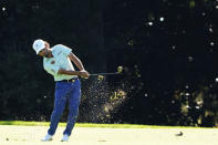 Abraham Ancer, of Mexico, hits on the eighth fairway during the second round of the Masters golf tournament Friday, Nov. 13, 2020, in Augusta, Ga. (AP Photo/Matt Slocum)