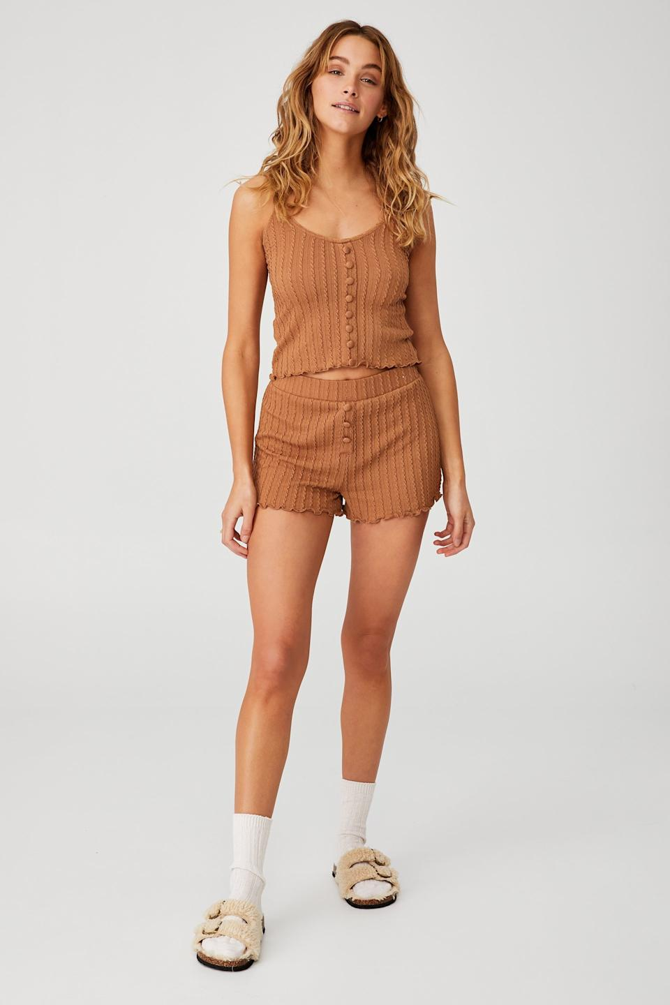 Knit Bed Tank, $17.49 and Knit Bed Shorts, $17.49