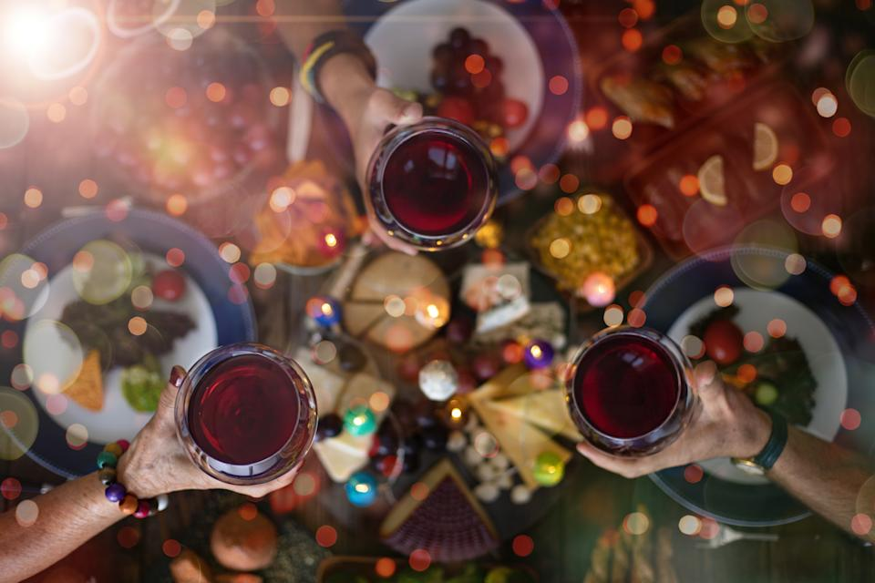 Top view of a family Christmas dinner (meal) with togetherness