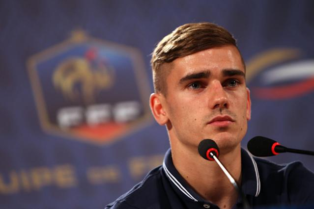 France's Antoine Griezmann attends a press conference in the Teatro Pedro II in Ribeirao Preto, Brazil, Monday, June 16, 2014. France will play in group E of the Brazil 2104 soccer World Cup. (AP Photo/David Vincent)
