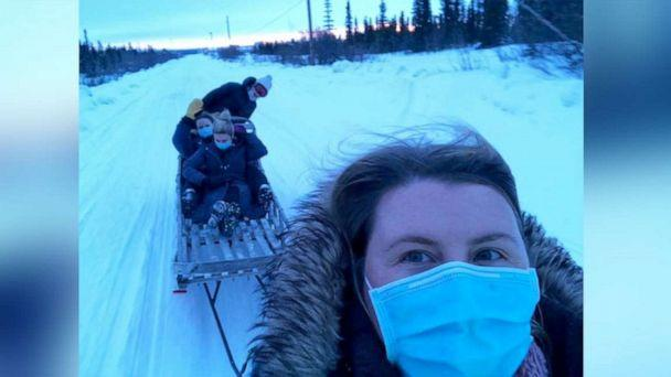 PHOTO: Dr. Katrine Bengaard and three fellow female healthcare workers deliver COVID-19 vaccines to people in rural Alaska. (Dr. Katrine Bengaard)