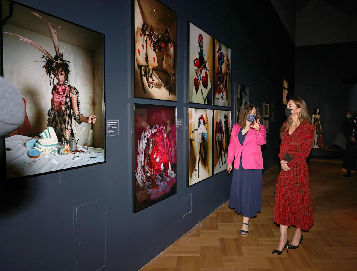 The Duchess of Cambridge in the Alice exhibition with curator Kate Bailey, during a visit to V&A Museum in London. Picture date: Wednesday May 19, 2021.