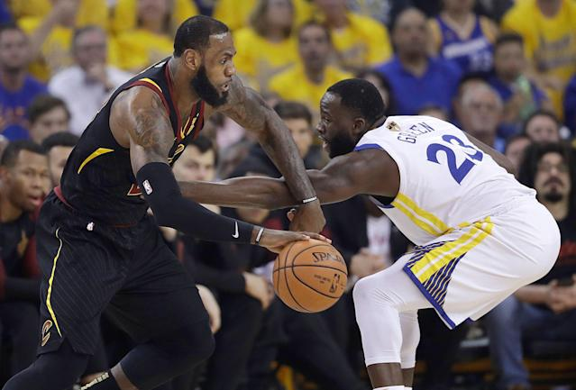 "<a class=""link rapid-noclick-resp"" href=""/nba/players/5069/"" data-ylk=""slk:Draymond Green"">Draymond Green</a> said it will be strange to not play <a class=""link rapid-noclick-resp"" href=""/nba/players/3704/"" data-ylk=""slk:LeBron James"">LeBron James</a> in the Finals. (AP Photo/Marcio Jose Sanchez)"