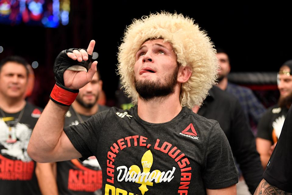 ABU DHABI, UNITED ARAB EMIRATES - SEPTEMBER 07: Khabib Nurmagomedov of Russia celebrates his submission victory over Dustin Poirier in their lightweight championship bout during UFC 242 at The Arena on September 7, 2019 in Yas Island, Abu Dhabi, United Arab Emirates. (Photo by Jeff Bottari/Zuffa LLC/Zuffa LLC via Getty Images)