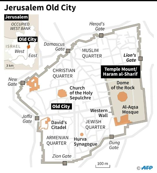 Map of Jerusalem Old City locating the site known to Muslims as the Haram al-Sharif and to Jews as the Temple Mount