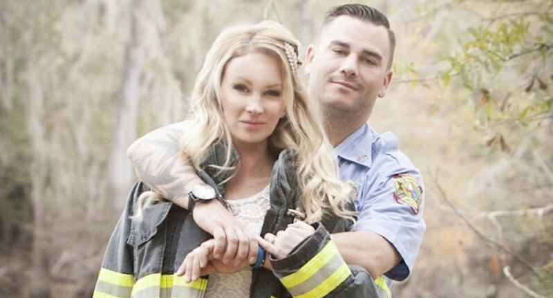 Firefighter Kyle Parry found his fiancés wedding dress miraculously unharmed by Hurricane Harvey, though his entire house was flooded. (Yahoo)