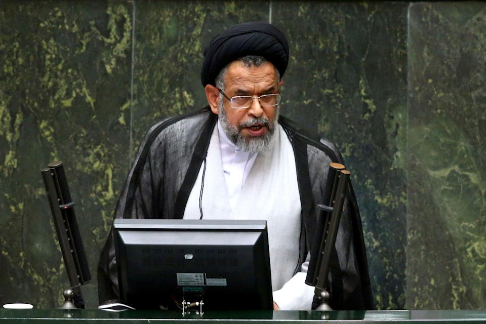 """Iranian Intelligence Minister Mahmoud Alavi answers questions from lawmakers in an open session of parliament in Tehran, Iran, Tuesday, Oct. 25, 2016. Iran's intelligence minister is defending his agents' handling of a visit by a gay Utah state senator after hard-liners alleged it represented a security breach. Alavi said Sen. Jim Dabakis was under """"full surveillance"""" during his six-day visit in September. Alavi also questioned why hard-liners didn't have a problem with Dabakis making a 15-day visit in 2010 during the administration of hard-line President Mahmoud Ahmadinejad. (AP Photo/Ebrahim Noroozi))"""