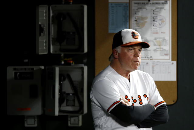 Baltimore Orioles manager Buck Showalter stands in the dugout in the seventh inning of a baseball game against the Toronto Blue Jays, Tuesday, Sept. 18, 2018, in Baltimore. Toronto won 6-4. (AP Photo/Patrick Semansky)