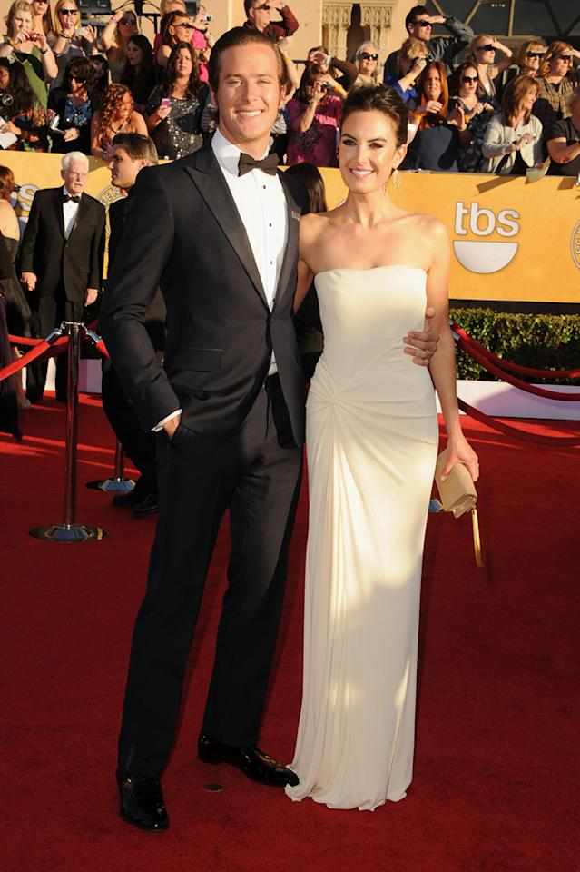 Armie Hammer and wife arrive at the 18th Annual Screen Actors Guild Awards at The Shrine Auditorium in Los Angeles, California.