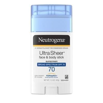 <p>Touch up your face with this portable <span>Neutrogena Ultra Sheer Non-Greasy Sunscreen Stick - SPF 70</span> ($9). It has a rich balm-like texture that leaves a subtle glowy sheen on the skin. This is a great option for those with dry skin since it feels moisturizing on the skin.</p>