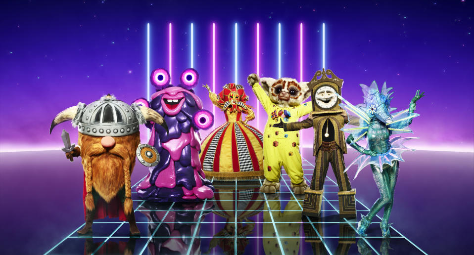 From Bandicoot TV  The Masked Singer: SR2 on ITV  Pictured: Viking, Blob, Harlequin, Bushbaby, Grandfather Clock and Sea Horse.  This photograph is (C) ITV Plc and can only be reproduced for editorial purposes directly in connection with the programme or event mentioned above, or ITV plc. Once made available by ITV plc Picture Desk, this photograph can be reproduced once only up until the transmission [TX] date and no reproduction fee will be charged. Any subsequent usage may incur a fee. This photograph must not be manipulated [excluding basic cropping] in a manner which alters the visual appearance of the person photographed deemed detrimental or inappropriate by ITV plc Picture Desk.  This photograph must not be syndicated to any other company, publication or website, or permanently archived, without the express written permission of ITV Picture Desk. Full Terms and conditions are available on the website www.itv.com/presscentre/itvpictures/terms  For further information please contact: james.hilder@itv.com / 0207 157 3052