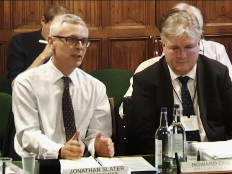 Department for Education permanent secretary Jonathan Slater presents evidence to Parliament to request excess funding