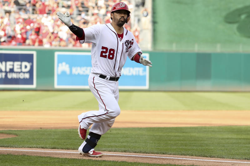 Washington Nationals' Kurt Suzuki runs after hitting a two-run home run during the third inning of a baseball game against the Cleveland Indians at Nationals Park, Sunday, Sept. 29, 2019, in Washington. (AP Photo/Andrew Harnik)