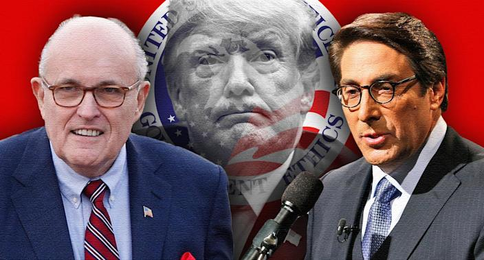 Rudy Giuliani, President Trump and Jay Sekulow. (Photo illustration: Yahoo News; photos: AP)