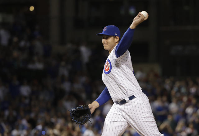 Cubs 1B Anthony Rizzo made his long-awaited MLB pitching debut Monday when Joe Maddon let him take the mound in a blowout loss to the Diamondbacks. (AP)