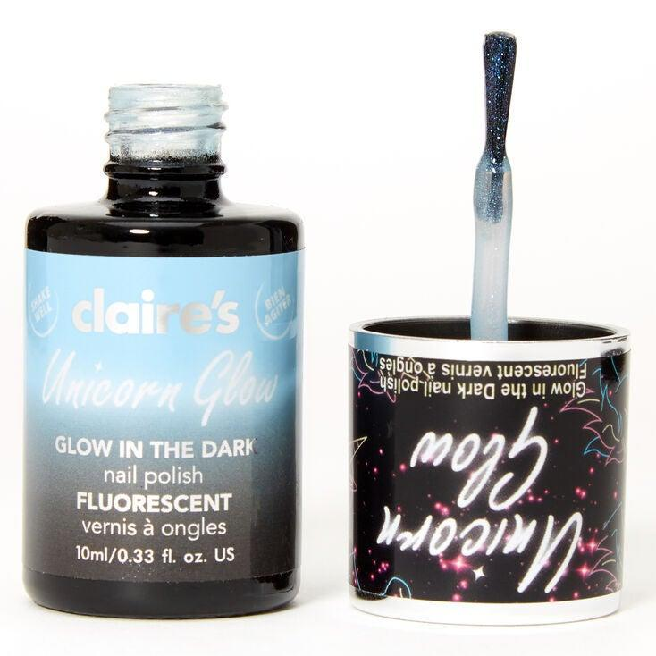 """<h3>Claire's Unicorn Glow In The Dark Nail Polish</h3><br><br><strong>Claire's</strong> Unicorn Glow In The Dark Nail Polish - Blue, $, available at <a href=""""https://go.skimresources.com/?id=30283X879131&url=https%3A%2F%2Fwww.claires.com%2Fus%2Funicorn-glow-in-the-dark-nail-polish---blue-258426.html"""" rel=""""nofollow noopener"""" target=""""_blank"""" data-ylk=""""slk:Claire's"""" class=""""link rapid-noclick-resp"""">Claire's</a>"""