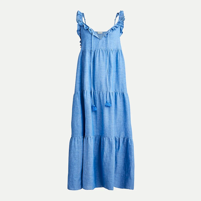 Cotton linen tiered maxi dress. Image via J.Crew.