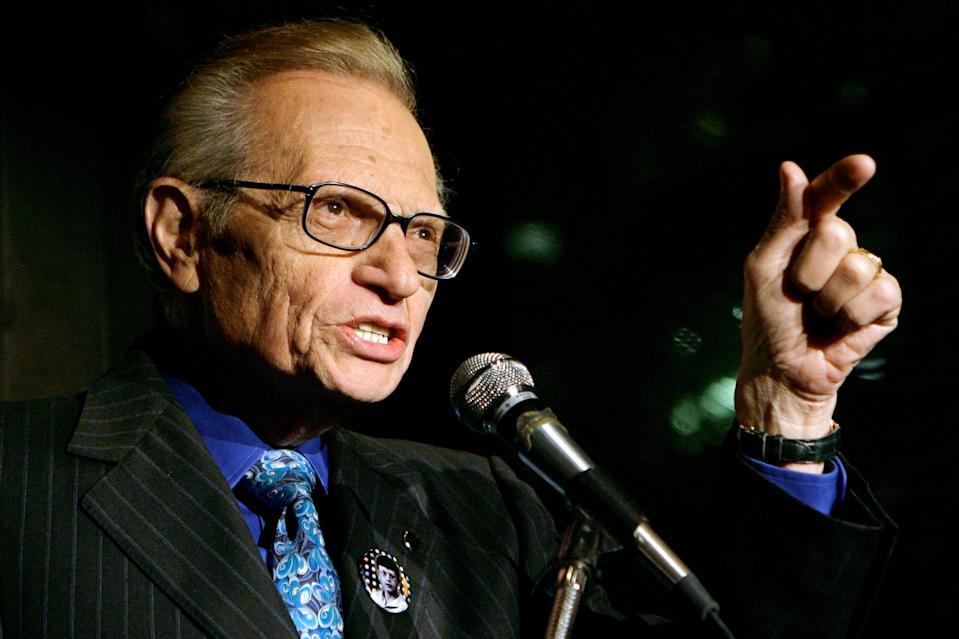 <p>Larry King speaks to guests at a party held by CNN, celebrating King's fifty years of broadcasting in New York (file picture)</p> (AP)