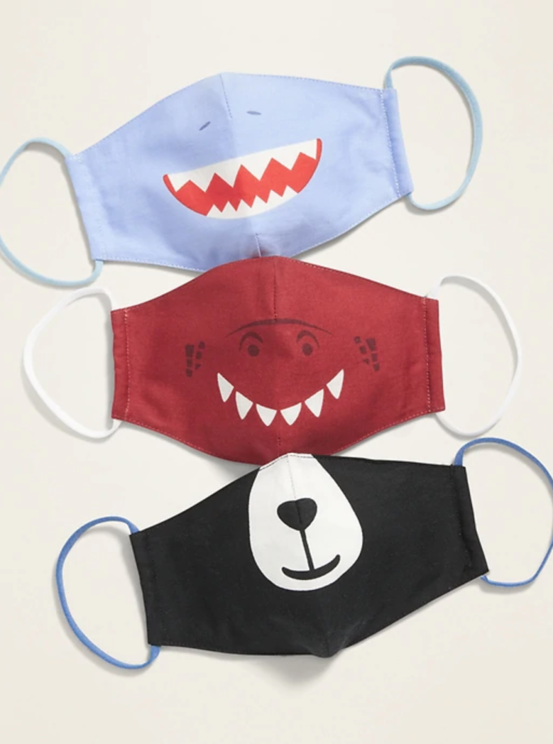 Variety 3-Pack of Triple-Layer Cloth Critter Face Masks (with Laundry Bag) for Kids in Blue Shark/Red Dinosaur/Black Bear