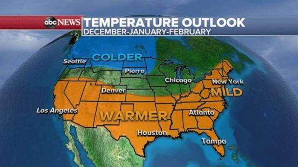 PHOTO: The temperature outlook for this winter December, January and February. (ABC News)