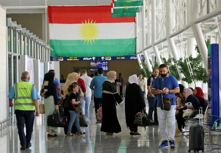 Passengers are seen at Arbil airport, in the capital of Iraq's autonomous northern Kurdish region, on September 28, 2017