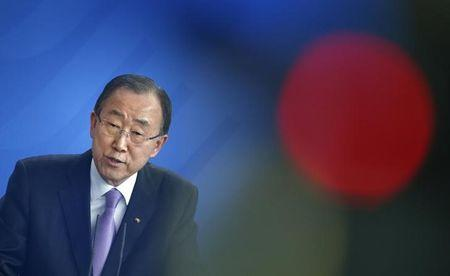 U.N. Secretary General Ban addresses a news conference at the Chancellery in Berlin