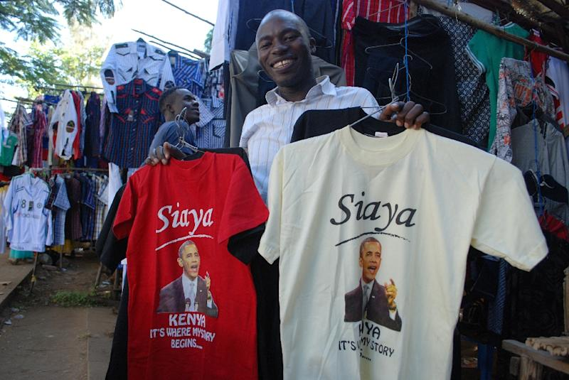 """Kenyan clothing vendor Hosea Owuor, pictured on July 8, 2015, said that, """"The story of Obama is when he was young he was born in Siaya"""" -- half a world away from Hawaii, where Obama was actually born (AFP Photo/Denish Ochiengi)"""