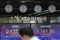 A currency trader stands near the screens showing the Korea Composite Stock Price Index (KOSPI), left, and the foreign exchange rate between U.S. dollar and South Korean won at the foreign exchange dealing room in Seoul, South Korea, Thursday, Nov. 7, 2019. Asian stocks are mostly lower after a meandering day of trading left U.S. stock indexes close to their record highs. (AP Photo/Lee Jin-man)