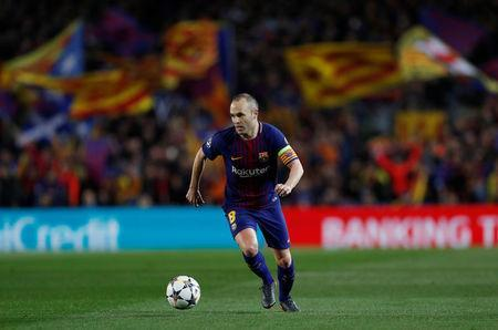 FILE PHOTO: Soccer Football - Champions League Round of 16 Second Leg - FC Barcelona vs Chelsea - Camp Nou, Barcelona, Spain - March 14, 2018 Barcelona's Andres Iniesta in action Action Images via Reuters/Lee Smith