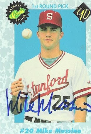 Mike Mussina, at a much earlier and less-wealthy date — TTMMan21 photo
