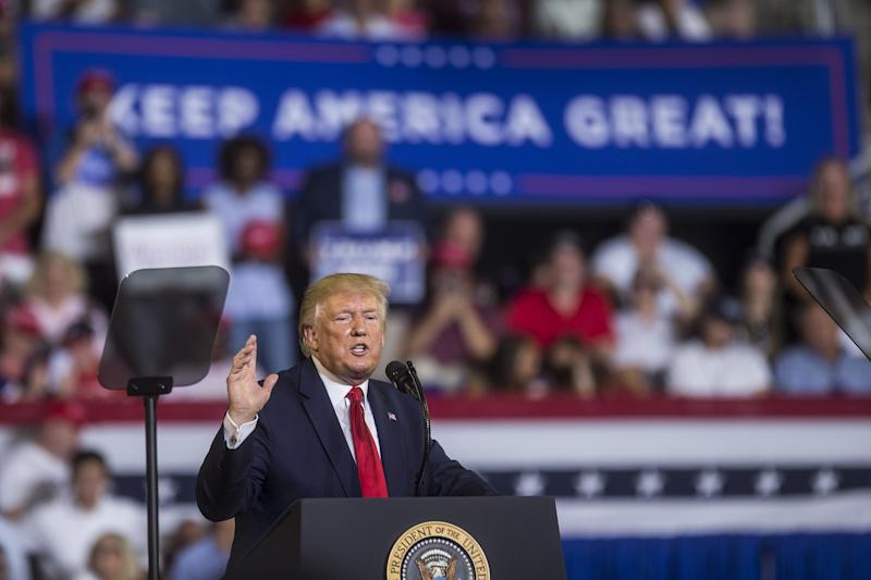 President Donald Trump speaks during a Keep America Great rally on July 17, 2019, in Greenville, North Carolina. Trump spoke in North Carolina only hours after the House of Representatives voted down an effort from a Texas Democrat to impeach him.