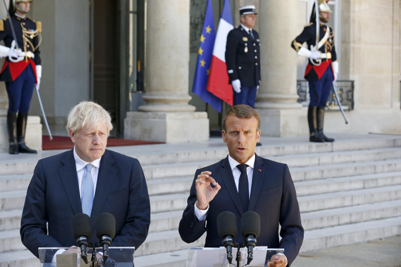PARIS, FRANCE - AUGUST 22: French President Emmanuel Macron makes a statement to the media next to British Prime Minister Boris Johnson prior to their meeting on Brexit at the Elysee Presidential Palace on August 22, 2019 in Paris, France. Boris Johnson is on an official visit to Paris. (Photo by Chesnot/Getty Images)