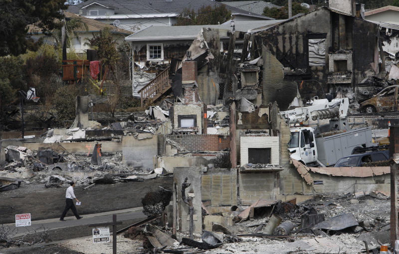 FILE - In this Sept. 13, 2010, file photo, a man walks past the remains of homes damaged from a fire caused by an explosion in a mostly residential area in San Bruno, Calif. The National Transportation Safety Board's investigation has raised questions about whether the company should have known it was putting public safety at risk. Eight officials with the Pacific Gas and Electric Co. are scheduled to testify Tuesday, Mach 1, 2011, at a public hearing in Washington. (AP Photo/Jeff Chiu, File)