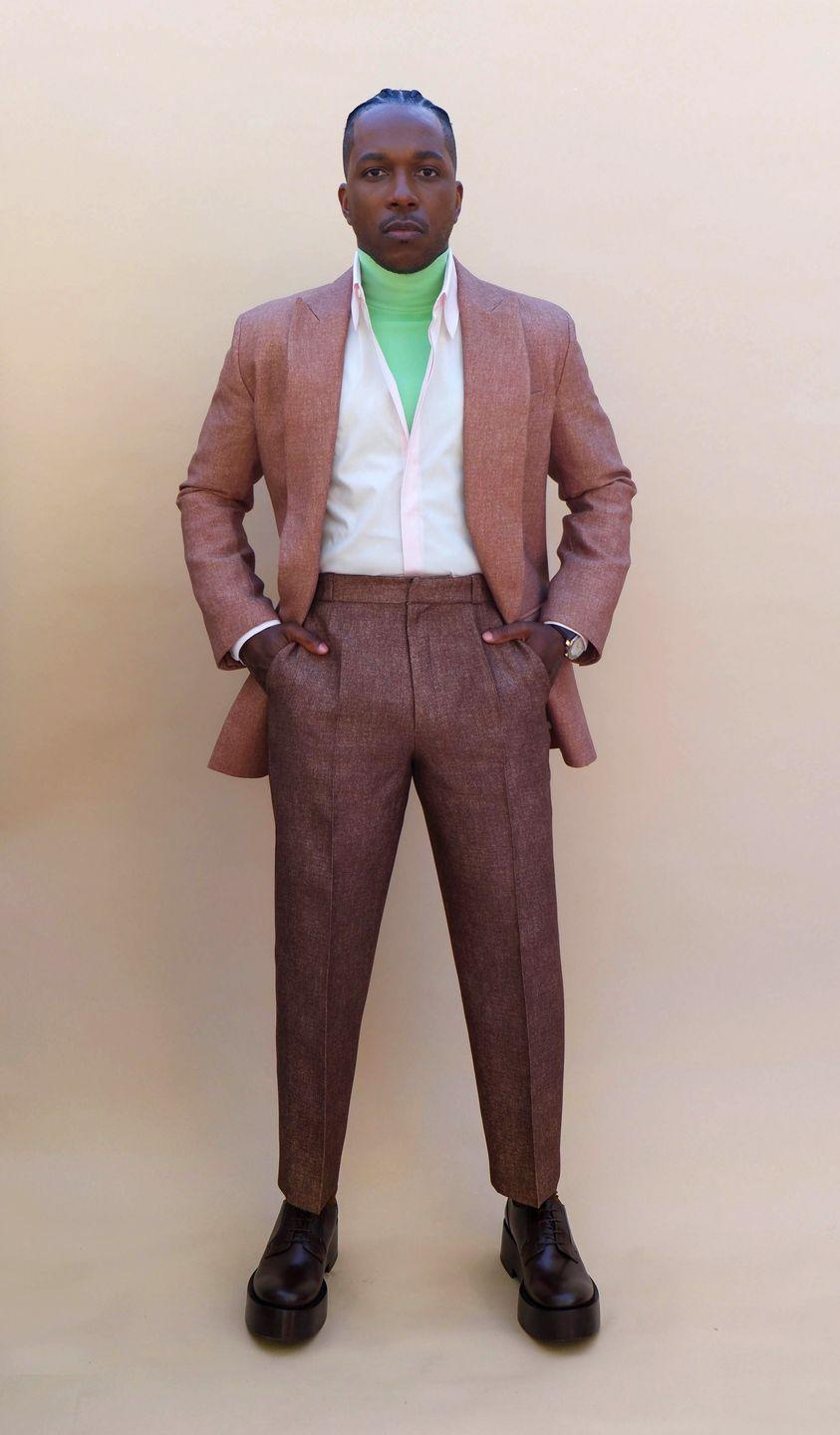 <p>The <em>Hamilton</em> and <em>One Night in Miami</em> star earned our never-ending respect for going way off the beaten path with this pink-hued suit and brilliant green turtleneck. Unexpected, unforgettable, and up-to-the-second modern.</p>