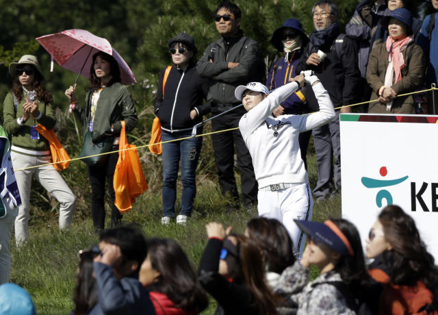 Sung Hyun Park of South Korea watches her on the third hole during the first round of the LPGA KEB Hana Bank Championship at Sky72 Golf Club in Incheon, South Korea, Thursday, Oct. 11, 2018. (AP Photo/Ahn Young-joon)