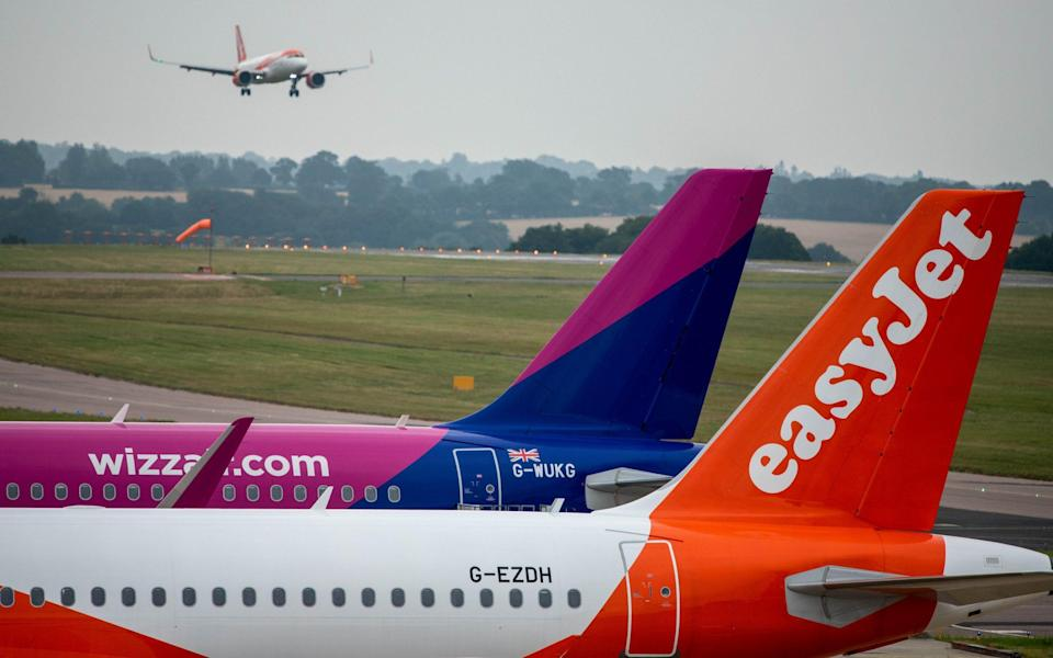 assenger aircraft, operated by EasyJet Plc and Wizz Air Holdings Plc, on the tarmac at London Luton Airport - Chris J. Ratcliffe/Bloomberg