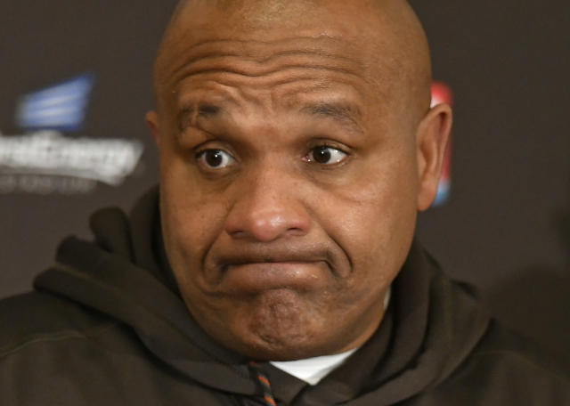 Cleveland Browns head coach Hue Jackson answers questions during a news conference after the Baltimore Ravens defeated his team in an NFL football game, Sunday, Dec. 17, 2017, in Cleveland. (AP Photo/David Richard)