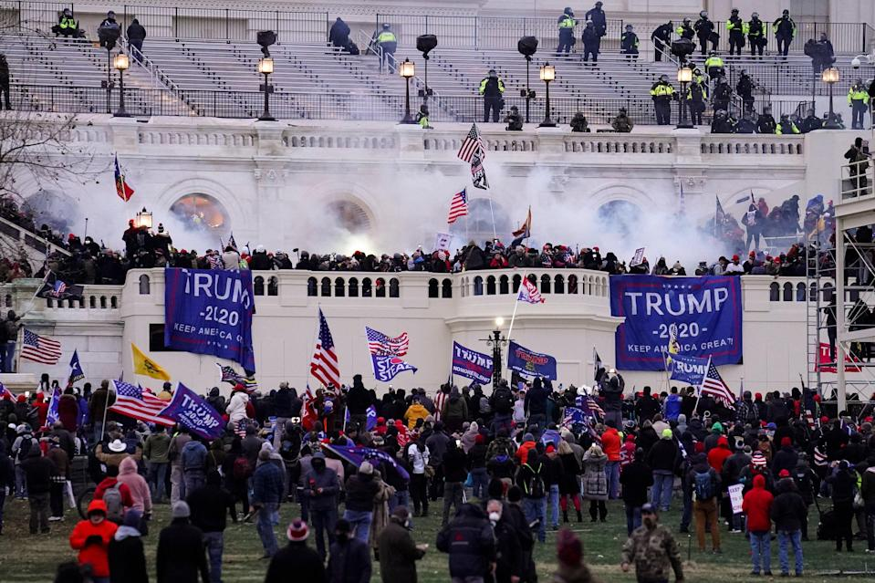 <p>File image: On ^ January, 2021, violent rioters egged on by President Donald Trump himself stormed into the Capitol in Washington</p> (AP)