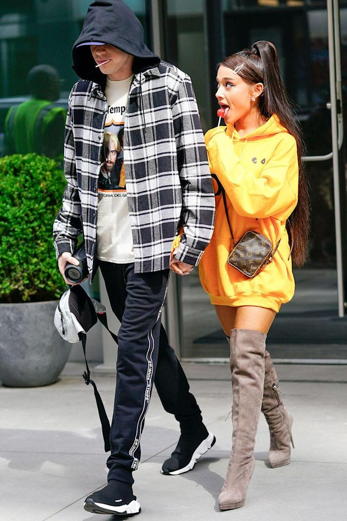 """<p>Few people saw this coming. After just weeks of dating, Ariana and Pete were engaged in June 2018. Pete told <a class=""""link rapid-noclick-resp"""" href=""""https://www.gq.com/story/pete-davidson-style-2018"""" rel=""""nofollow noopener"""" target=""""_blank"""" data-ylk=""""slk:GQ""""><em>GQ</em></a> they went engagement ring shopping the day they met, so hey.</p>"""