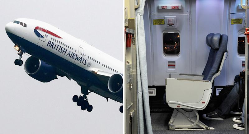 British Airways plane and inside cabin door shown after man suffers panic attack and tries to escape mid-flight.