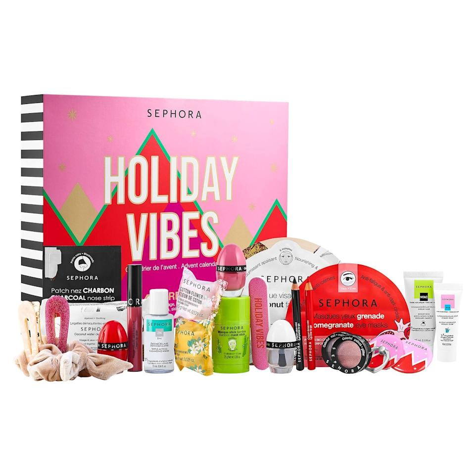 """<p><strong>SEPHORA COLLECTION</strong></p><p>sephora.com</p><p><strong>$45.00</strong></p><p><a href=""""https://go.redirectingat.com?id=74968X1596630&url=https%3A%2F%2Fwww.sephora.com%2Fproduct%2Fsephora-collection-holiday-vibes-advent-calendar-P475163&sref=https%3A%2F%2Fwww.townandcountrymag.com%2Fstyle%2Fbeauty-products%2Fnews%2Fg2919%2Fbeauty-advent-calendars%2F"""" rel=""""nofollow noopener"""" target=""""_blank"""" data-ylk=""""slk:Shop Now"""" class=""""link rapid-noclick-resp"""">Shop Now</a></p><p><strong>Best For: </strong>Your pal who hoards all their beauty samples.</p><p><strong>What's Inside:</strong> A whole array of Sephora favorites, including makeup, skincare, bath, and accessories. </p>"""