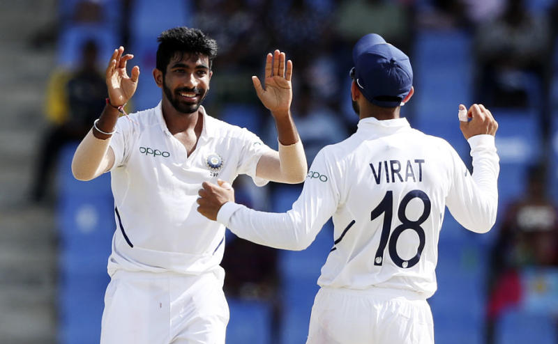 India's Jasprit Bumrah picked up his 50th Test wicket after dismissing Darren Bravo for 18. West Indies were in trouble at 88-4 when Bravo departed. AP