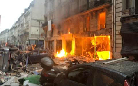 Explosion of a bakery on the corner of the streets Saint-Cecile and Rue de Trevise in central Paris