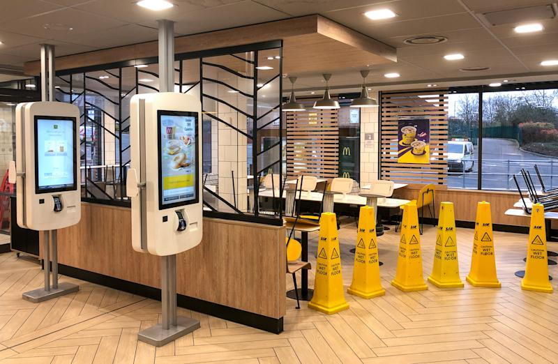 The closed off seating area inside a McDonald's restaurant in Leicester, as all McDonalds restaurants in the UK and Ireland become takeaways, drive-thrus and delivery operations as the company attempts to cope with the coronavirus outbreak.