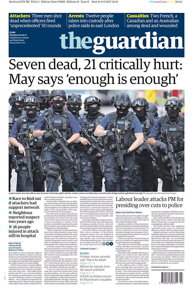 <p>Theresa May's response was reported by The Guardian. </p>