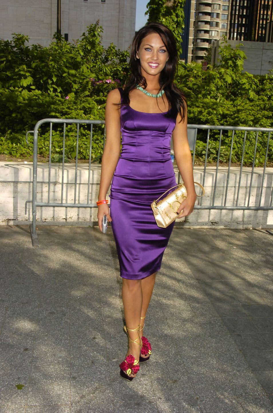 <p>Megan Fox rooted her satiny purple dress at the ABC upfronts with a pair of wildflower shoes—because why not?</p>