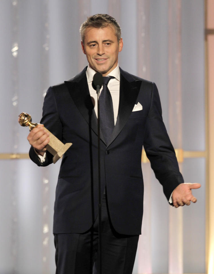 "BEVERLY HILLS, CA - JANUARY 15: In this handout photo provided by NBC, actor Matt LeBlanc accepts the award for Best Actor - TV Series, Comedy or Musical ""Episodes"" onstage during the 69th Annual Golden Globe Awards at the Beverly Hilton International Ballroom on January 15, 2012 in Beverly Hills, California. (Photo by Paul Drinkwater/NBC via Getty Images)"