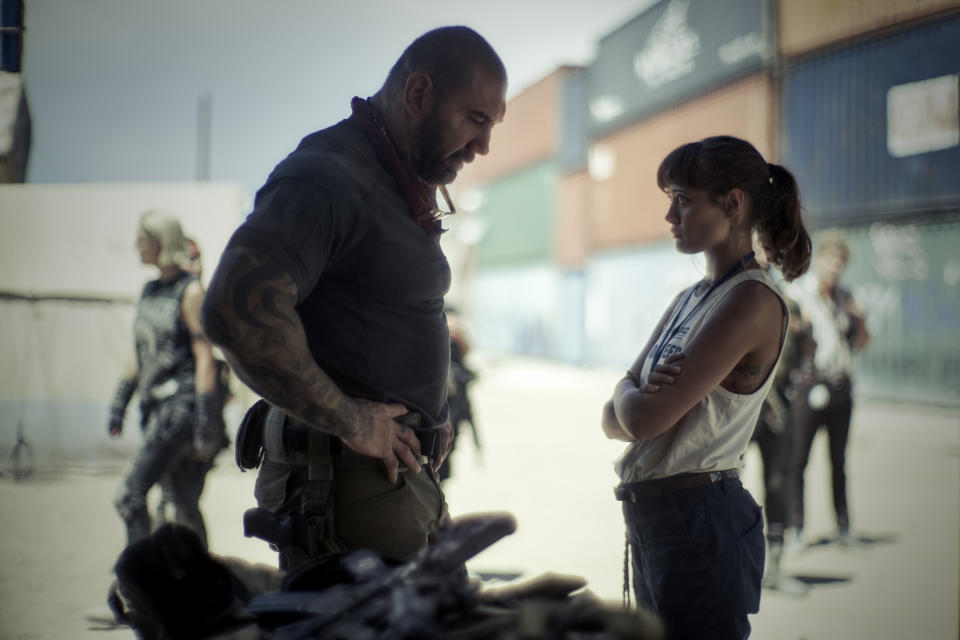 Dave Bautista and Ella Purnell in Zack Snyder's new zombie heist movie, 'Army of the Dead' (Photo: Clay Enos/Netflix)