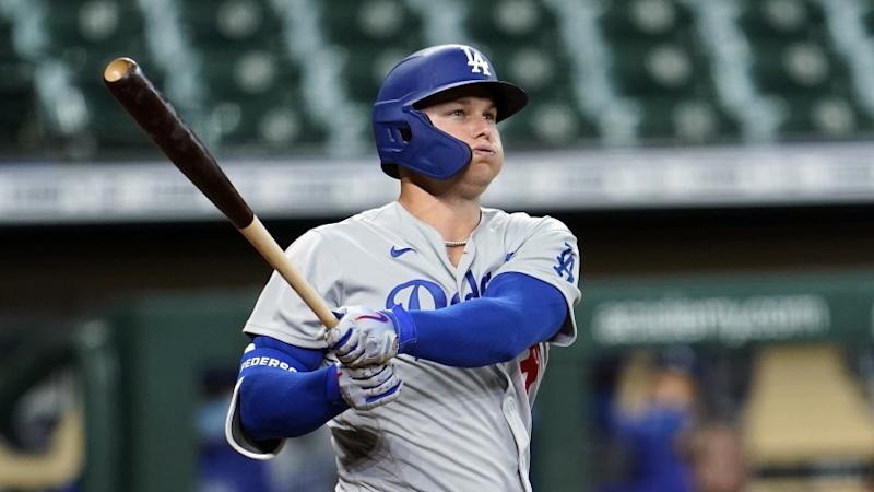 Los Angeles Dodgers' Joc Pederson bats against the Houston Astros during the second inning.