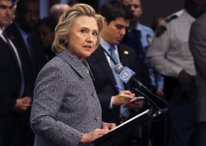 <p>Former Secretary of State Hillary Clinton speaks at a news conference at the United Nations in New York in March 2015. Clinton said that she did not email any classified material to anyone while at the State Department. (Photo: Lucas Jackson/Reuters)</p>